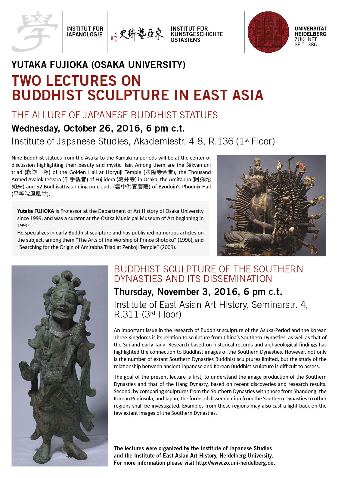3. November 2016 | Yutaka Fujioka: Buddhist Sculpture of the Southern Dynasties and its Dissemination