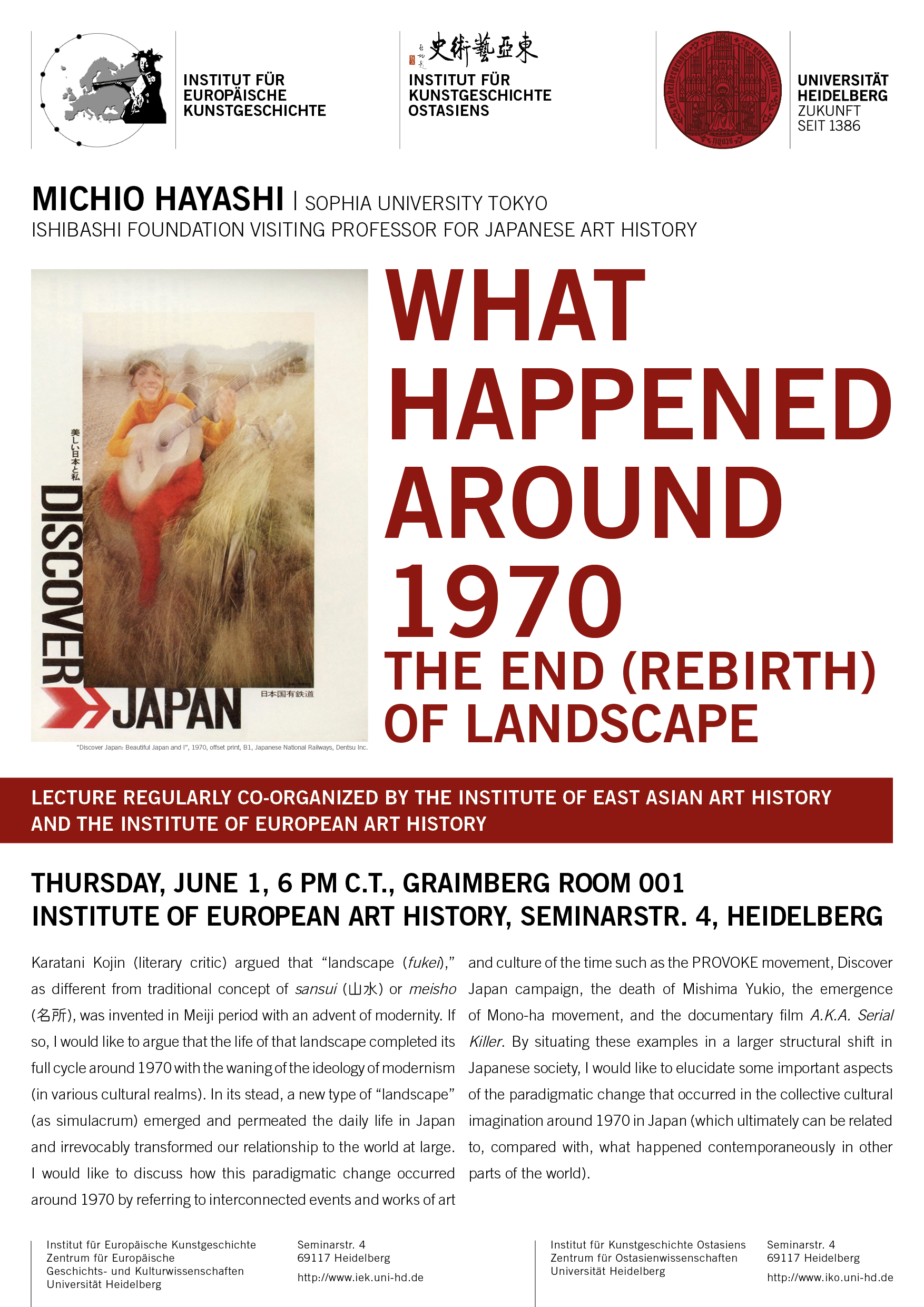 1. Juni 2017 | Michio Hayashi: What Happened around 1970. The End (Rebirth) of Landscape