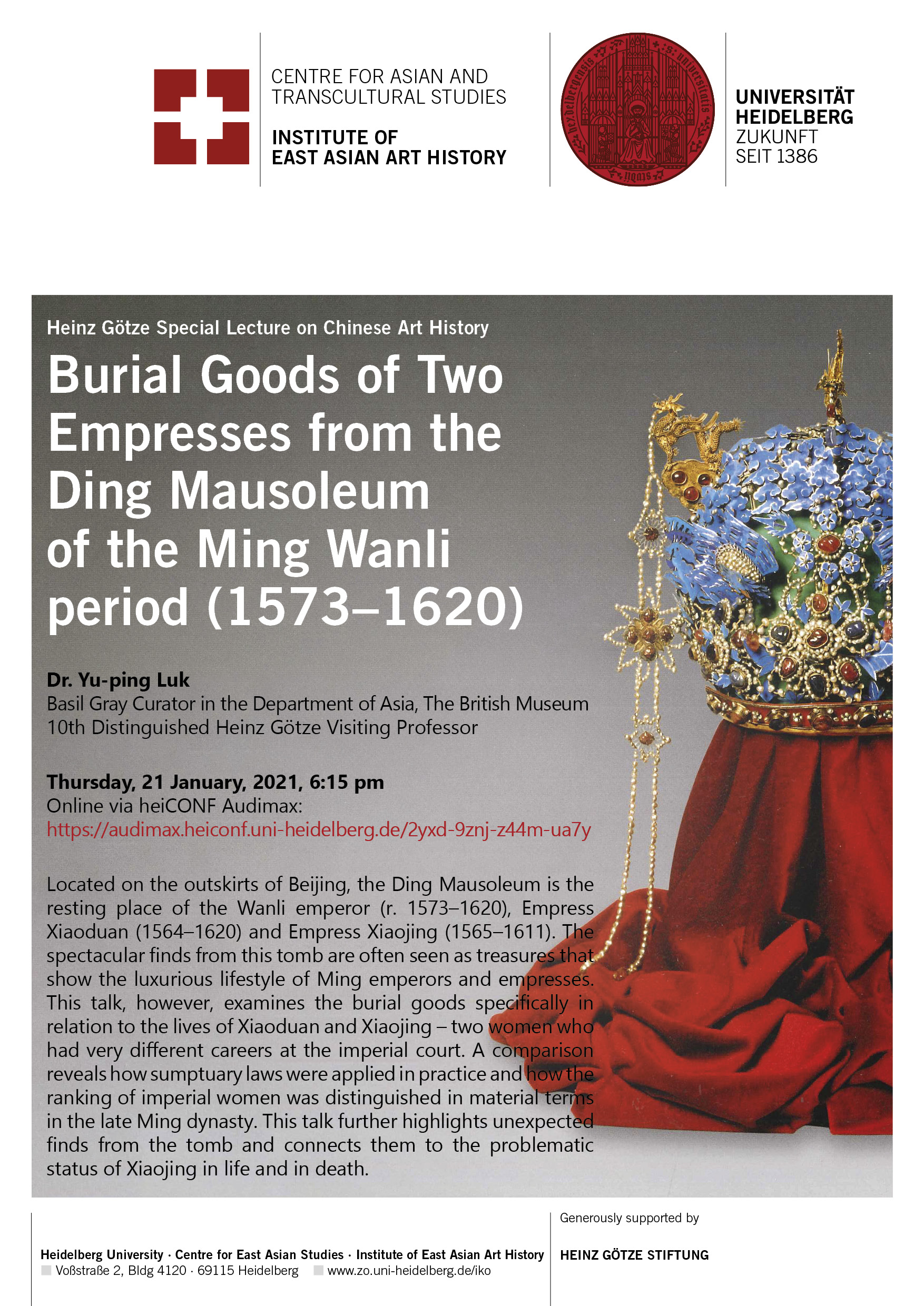 Dr. Luk Yu-ping: Burial Goods of Two Empresses from the Ding Mausoleum of the Ming Wanli period (1572–1620)